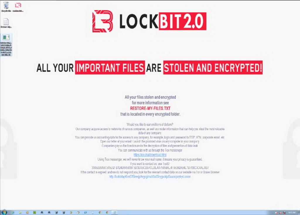 LockBit 2.0勒索軟體會修改受害者的電腦桌布,提醒受害者意識到他們的被駭。