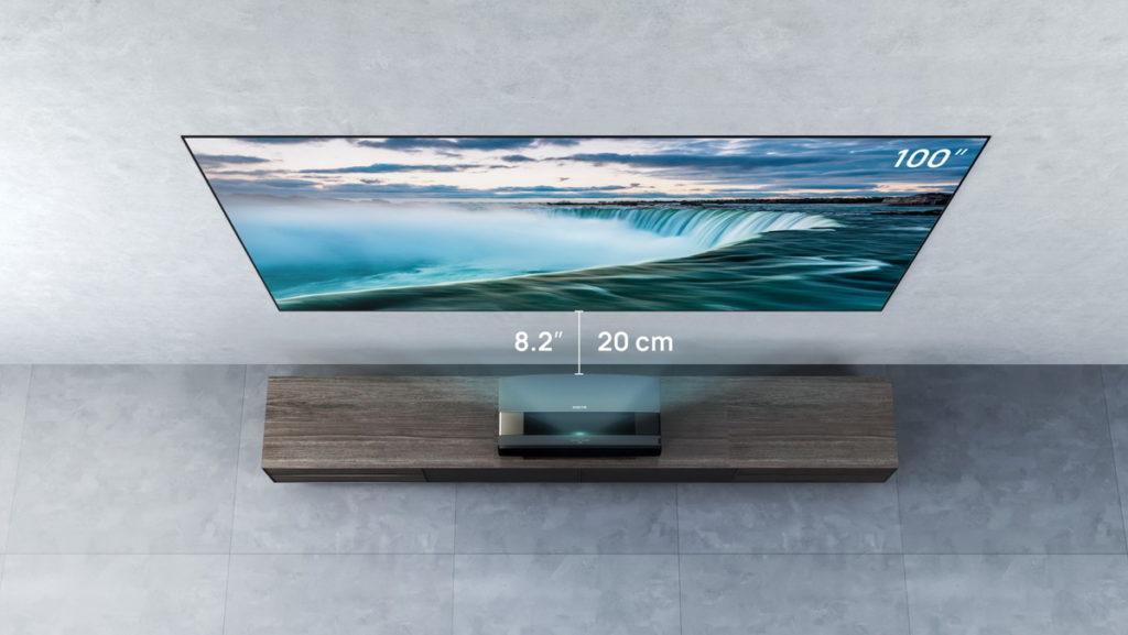 僅需離牆20cm,就能投射出100吋大畫面