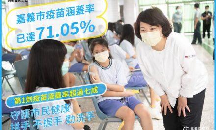 嘉義市新冠肺炎疫苗涵蓋率超過七成 港坪快打站服務65歲到69歲民眾接種莫德納第二劑