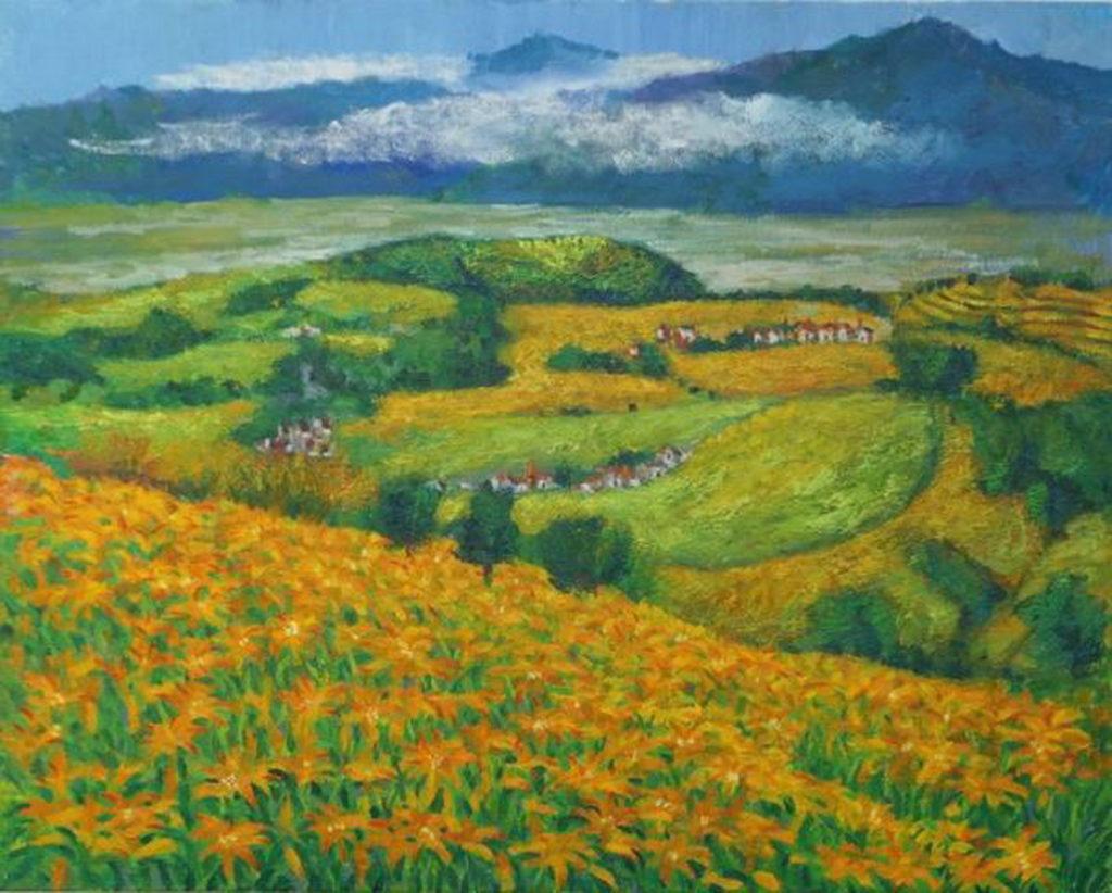 劉洋哲 老師〈 金針花的故鄉―六十石 〉72.5 x 91cm  油彩•畫布  2021